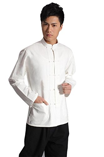 ZooBoo Traditional Long Sleeve Tang Kung Fu Uniform Men's Shirt (White, L)