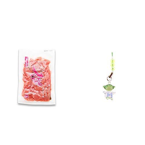 [2点セット] しな漬け(160g)・ガラスのさるぼぼ 手作りキーホルダー 【緑】 /健康運・平穏・病気を寄付けない・健康祈願//