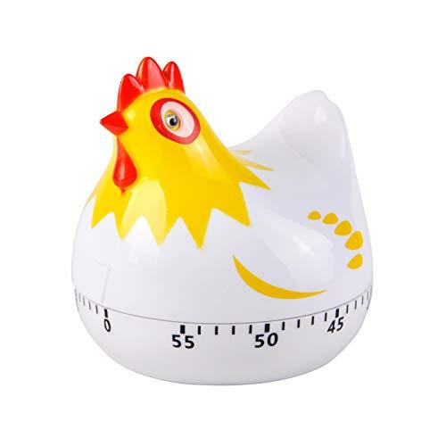 Timer mit Hühnermuster, Countdown-Küchentimer mit Hühnermuster, Erinnerung zum Kochen und Backen (weiß)