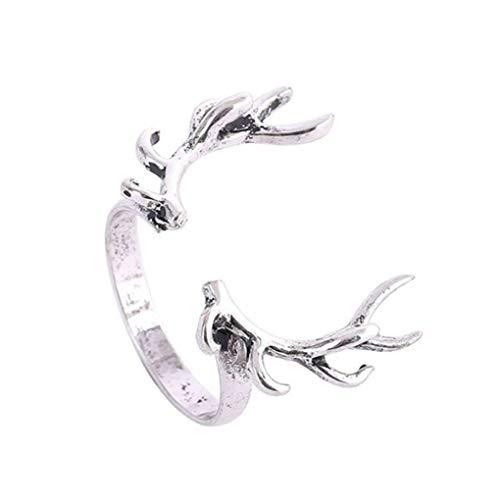 zhibeisai Decoración Rama Forma Retro Unclosed Estilo Cuerno Ring Ring de Ciervo Diseño Brillante Anillo de la Cornamenta para Hombres y Mujeres