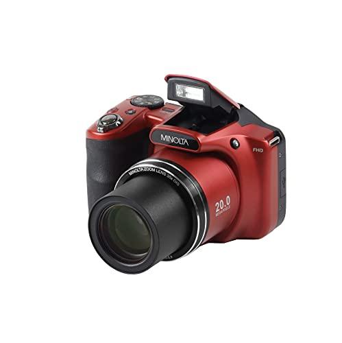 Minolta 20 Mega Pixels WiFiDigital Cámara con Zoom óptico de 35x y 1080p HD Video Óptico con LCD de 3 Pulgadas, 4.8 x 3.4 x 3.2, Rojo (MN35Z-R)
