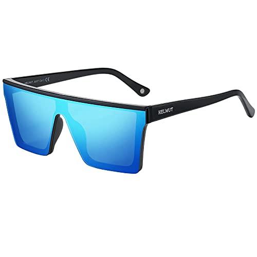 H HELMUT JUST Gafas de Sol para Hombre Cuadrado Grandes Nylon Lente Montura de TR90 Patilla de Acetato