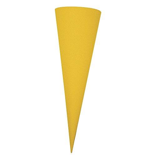 Rayher 7133920 Schultüte, aus Pappe zum Basteln und Selbstgestalten, Rohling ohne Verschluss für Zuckertüte und Geschwisterschultüte, rund, gelb, 35 cm