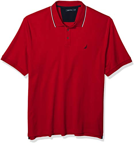 Nautica Men's Tall Classic Fit Short Sleeve Solid Tipped Collar Soft Polo Shirt, Red, 3X Big