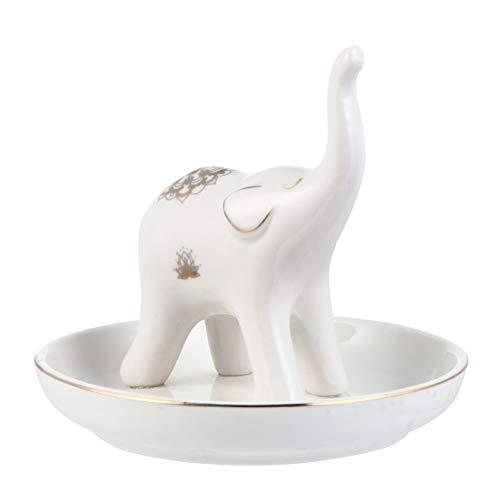 Cabilock Plato de Joyería de Cerámica Bandeja Elefante Soporte de Anillo de Porcelana Pequeña Bandeja de Joyería Decorativa Mujer Organizador de La Joyería para Collar Pendientes