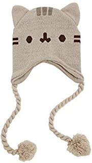 Pusheen Cat Face Ears Beanie - Pusheen The Cat Beanie Hat - Grey with Tassels