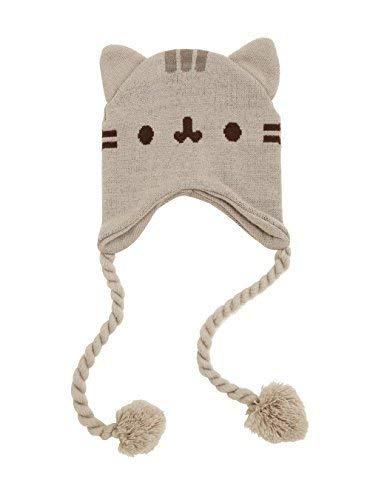 Pusheen Cat Face Ears Beanie - Pusheen the Cat Beanie Hat - Grey with Tassels