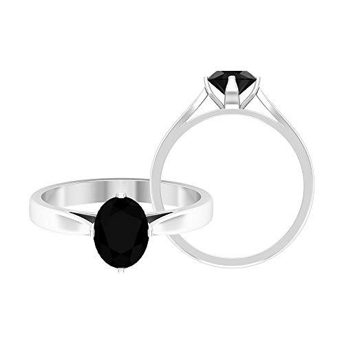 Rosec Jewels - Anillo solitario con forma ovalada de diamante negro de 8 x 6 mm, 2,00 ct creado en laboratorio, anillo de compromiso de diamantes negros, 14K Oro blanco, Size:EU 70