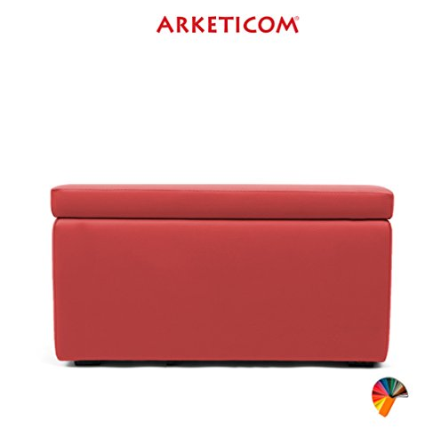 Arketicom Pandora Puff Contenitore Ecopelle poggiapiedi Design Pouf Rosso 84x42