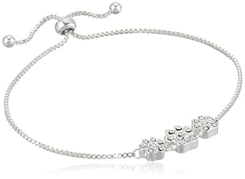 Pet Friends Women's Silver Crystal Slider Pave Trio Paws Bracelet, One Size