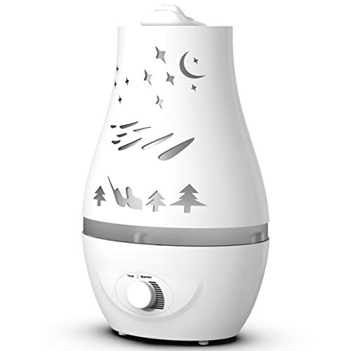 Humidifier - 2.2L White Personal Vaporizer, Portable Humidifiers for Bedroom, Apartment, Dorm, Office, Home, Nursery - Adjustable Mist, Automatic Water Shortage Protection, 360-Degree Rotation