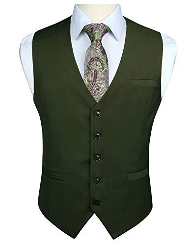 HISDERN Gilet da uomo in cotone verde in solido cotone con gilet da lavoro formale da uomo
