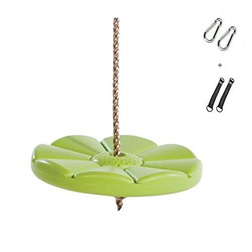 Columpio Jardín Adulto Oscilación de los niños de plástico verde oscilación Placa fuerte oscilación de la cuerda tejida portante de carga de 200 kg Adecuado for oscilaciones interiores y exteriores Si