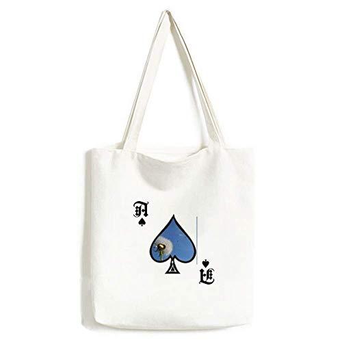 Blue Sky Schöne weiße Pusteblume Handtasche Craft Poker Spaten Waschbare Tasche
