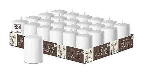 HYOOLA White Pillar Candles 2x3 Inch - 24 Pack Unscented Bulk Pillar Candles - European Made