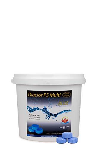 Cloro para Piscinas DIACLOR PS Multi Blue 5 KG - 25 Pastillas de Cloro Lento Azul (20 gr) - Tratamiento Completo Multiacción