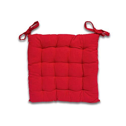 Soleil d'ocre Cojín de Silla en capitoné de algodón Panama Rojo