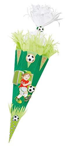 folia 92204/22222 Schultüten Bastelset Fußballer, inklusive Schultütenrohling aus 3D Wellpappe ca. 68 cm, Motivbögen und Bastelzubehör, grün