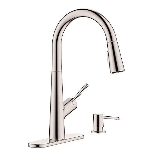 hansgrohe 1-Handle 17-inch Tall Stainless Steel Kitchen Faucet with Pull Down Sprayer with QuickClean in Stainless Steel Optic, 04749805
