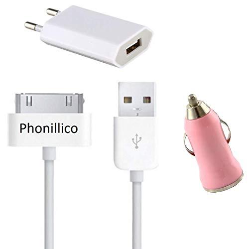 Phonillico USB-kabel + autolader roze + lader wit compatibel met iPhone 4 / 4S / 3G / 3GS - 1 m oplader, wandcontactdoos, autolader