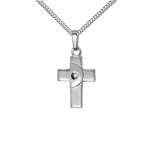 JEVELION Anhänger-Kreuz 925 Silber mit Zirkonia Silberkreuz für Damen, Herren und Kinder Kreuzanhänger Kettenanhänger + Schmuck-Etui mit Panzerkette Silber