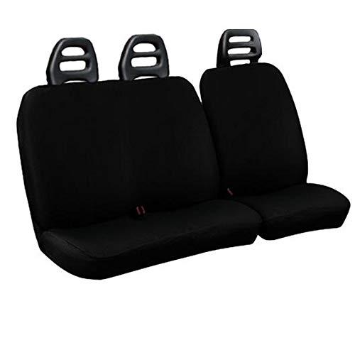 Lupex Shop C.B N Fundas para Asientos para Furgoneta, 3plazas cinturón Bajo de Algodón Negro Compatibles para Fiat ducado año 2000