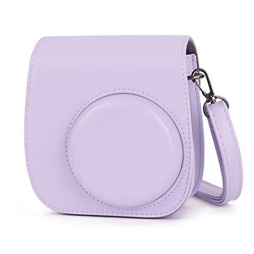 Leebotree Sofortbildkameras Tasche Kompatibel mit Instax Mini 11 Sofortbildkamera aus Weichem Kunstleder mit Schulterriemen und Tasche (Flieder Lila)