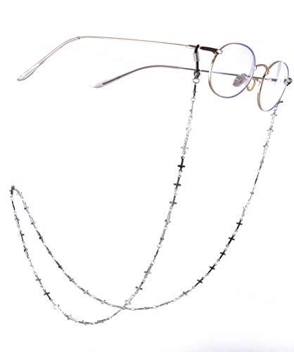 fishhook Delicate Eyeglasses Chain Silver Tone Cross Sunglasses Reading Glasses Strap Holder Chain Keeper Lanyard for Women Girls Grandma (Black)