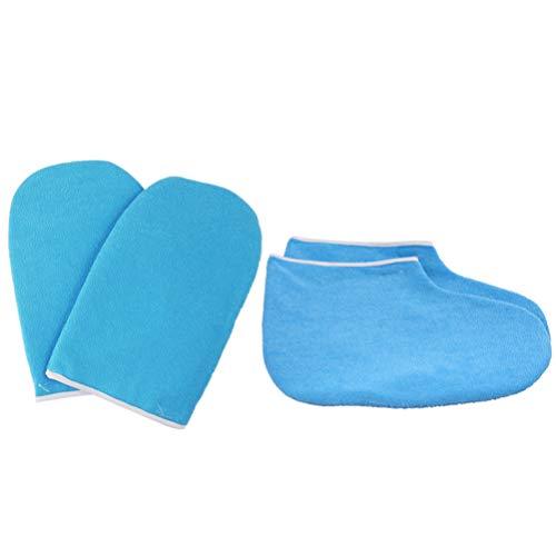 Lurrose Guantes Y Botines de Baño de Cera de Parafina Cozies Kit de Protección de Calentador de Cera de Parafina Gruesa para Cuidado de Pies Y Manos Terapia de Spa