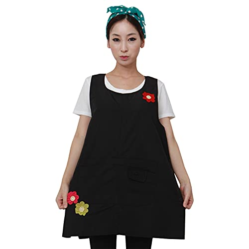 Cute Apron for Women with Pocket, Vest Sleeveless Korean Linen Pinafore Cooking Coffee Tea Nail Shop