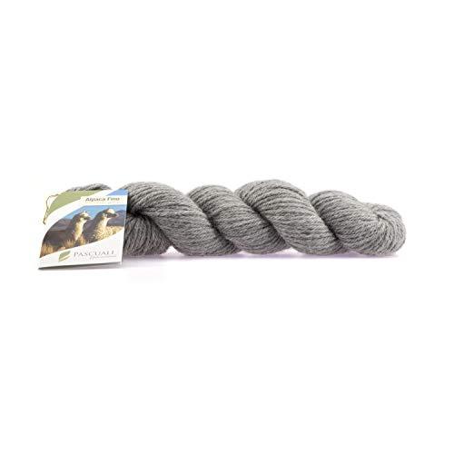 Pascuali Alpakawolle Alpaca Fino zum Stricken, 50g, Wolle Silber-Grau 07