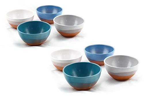 Hostelnovo - Pack Bowls Multicolor de cerámica Natural - Fabricado en España y Pintado a Mano - 4 Colores : Azul, Verde...
