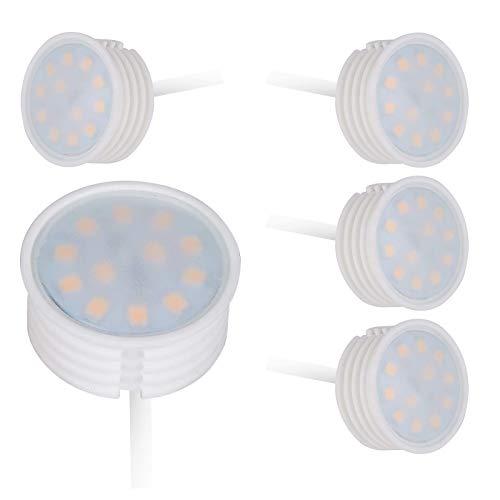 HCFEI LED-Modul flach 230V 3W für Einbaustrahler 320lm 120°, 35mm Durchmesser, MR11 GU4 Strahler Ersatz,Keramik Gehäuse (5er - Warmweiß)