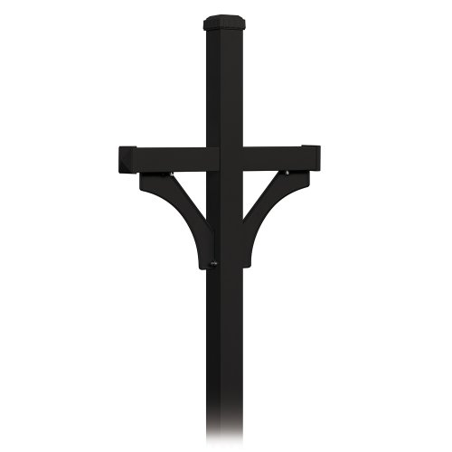 Salsbury Industries, Black 4872BLK Deluxe 2 Sided in Ground Mounted Post for Two Mailboxes