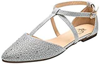 Laurel Womens Pointed Toe Ankle Wrap T-Strap D'Orsay Flats