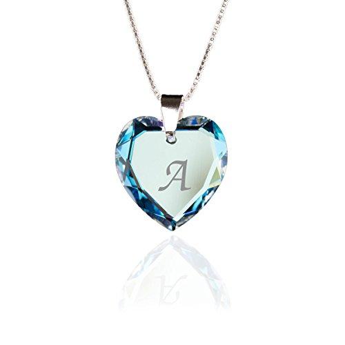 Kristallwerk Kette 925 Silber mit Swarovski Elements Herzanhänger Farbe Blue AB und Gravur Buchstabe A