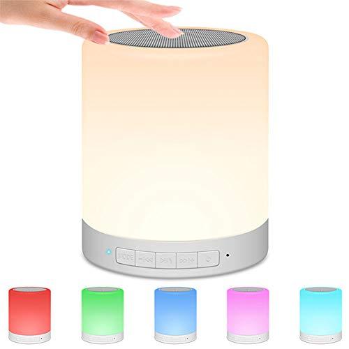 DSMGLRBGZ Lámpara de mesita de noche, lámpara de mesa + altavoz portátil inalámbrico Bluetooth, luces táctiles, luces LED de colores de noche, lámpara de mesita de noche para mejorar el sueño
