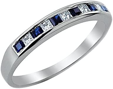 VS Jewels Princess Cut Blue and White Zirconia Manufacturer direct delivery Eterni Cubic Half Long-awaited