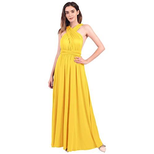 Vestido amarillo largo de fiesta para boda