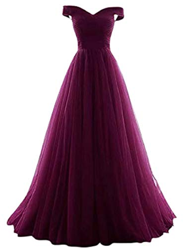 Romantic-Fashion Damen Ballkleid Abendkleid Brautkleid Lang Modell E270-E275 Rüschen Schnürung Tüll DE Lila Größe 38