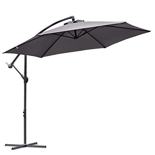 Sekey® 300 cm Ampelschirm | Sonnenschirm | Kurbelschirm mit Kurbelvorrichtung Sonnenschutz UV50+ Grau
