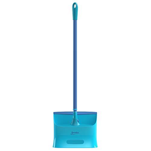 Spontex Catch & Clean, Kehrbesen mit Gummiborsten, Teleskopstiel und praktischem Auffangbehälter, hygienische und effiziente Reinigung für alle Bodenbeläge, 1 Set - 15