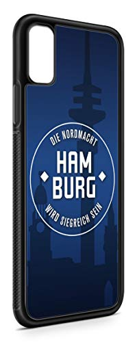 aina Kompatibel mit iPhone XR Silikon Handyhülle Flexibles Slim Case Cover Hamburg Skyline Motiv Bild Schwarz