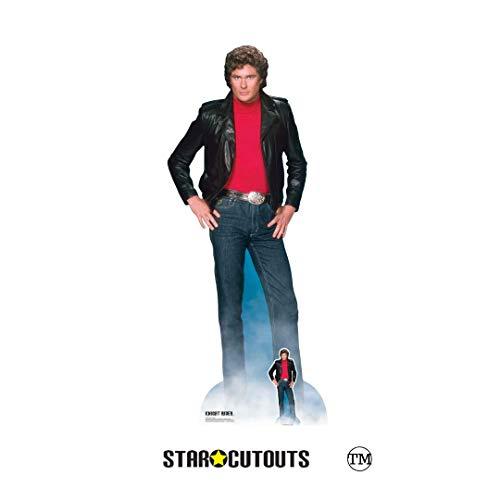 STAR CUTOUTS SC1381 Michael David Hasselhoff Knight Rider - Recorte de cartón de tamaño Real con Mini Standee para 80 Fiestas, Fans y Eventos 190 cm de Alto, Multicolor, Talla única