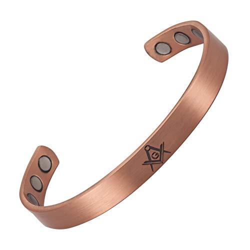Pulsera masónica de cobre con imanes con SC&G