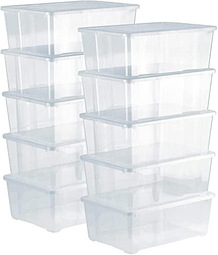Ruosaren Cajas de almacenamiento de 10 x 10 l con tapa transparente – Cajas transparentes apilables con ventilación