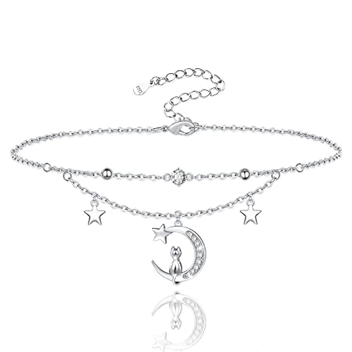 Moon Star Anklet Bracelets for Women 925 Sterling Silver Cat Layered Anklets for Sea Beach Foot Anklet for Teen Girls