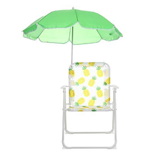 Sedia verde con ombrellino parasole per bambini Verde