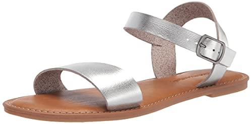 Amazon Essentials Two Strap Buckle Sandal Plates, PU argenté, 9.5