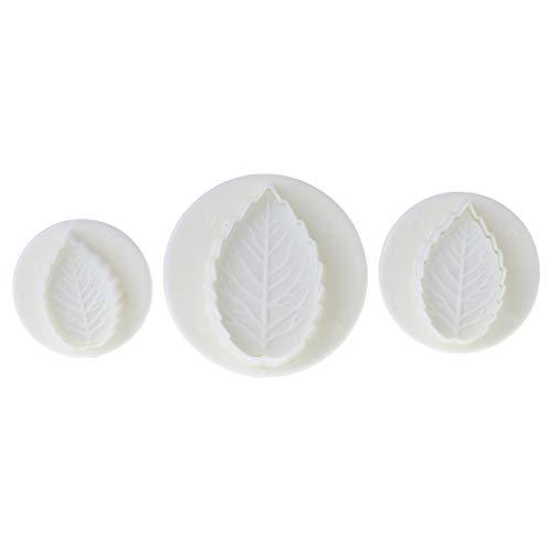 Viesky 3pcs Rose Feuille Feuilles Plongeur Cutter Cake Fondant Décoration Sugarcraft Moule